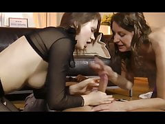 Teen cutie and her older friend take turns pleasing his coc
