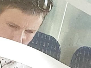 Granny upskirt in train