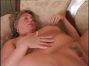 Soaking her pubes and belly with his cum