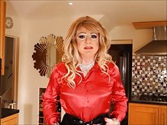 SIndy in satin blouse mini skiirt and fishnets