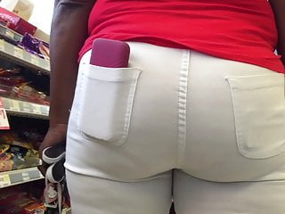 Ebony Milf Thick Ass and Hips White Jeans