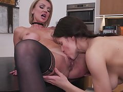 Teen daughter eating moms hungry cunt
