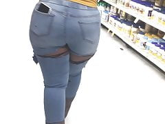 Thick Round Ass Ebony in jeans showing ass (2)