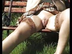 mature girl outdoors garden sounding lingerie nylon 43