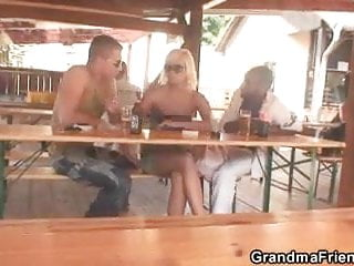 Two dudes have fun with an old hag mother