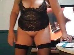 Mom does a strip tease part 2