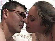nerd guy fucks two hot students in the ass