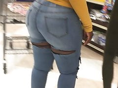 Thick Round Ass Ebony in jeans showing ass (1)