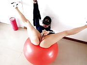Amazing Body Brunette Exersicing on her Fitball at the Gym