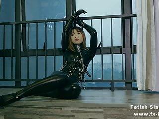 Leather catsuit bondage and gagging