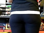 Sexy ass in yoga pants close up