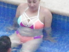 Hot bikini PAWG MILF with big tits in swimming pool Pt1