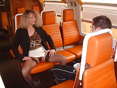 Milf and virgin boy in train