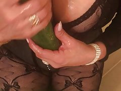 Latina Sex Slaves Oils Up her Cucumber Dildo. Dirty Talk