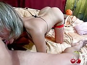 Sexy MILF Sloppy Blowjob Big Dick and Anal Sex in Red Stocki